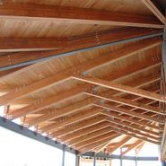 Steel with wood at car dealership